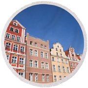 Wroclaw Old Town Houses Round Beach Towel
