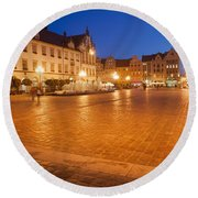 Wroclaw Old Town Market Square At Night Round Beach Towel