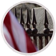 Wrought Iron And American Flag Round Beach Towel by Colleen Cornelius