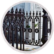 Wrought Iron Cemetery Fence Round Beach Towel