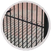 Wrought-iron Gate And Shadows Round Beach Towel