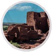 Wukoki Pueblo Ruins Wupatki National Monument Round Beach Towel