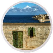 Ww2 Fortification Door Round Beach Towel