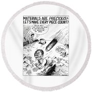 Ww2 Material Conservation Cartoon Round Beach Towel by War Is Hell Store