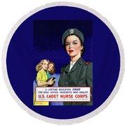 Ww2 Us Cadet Nurse Corps Round Beach Towel