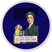 Ww2 Us Cadet Nurse Corps Round Beach Towel by War Is Hell Store