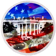 Ww2 Usa White House Round Beach Towel