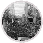 Wwi, Ruins Of Arras Cathedral Round Beach Towel