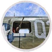 Wwii Aircraft Gun Window Round Beach Towel