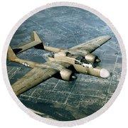 Wwii, Northrop P-61 Black Widow, 1940s Round Beach Towel
