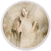 Wwii Tour Of Duty Pin-up Woman Round Beach Towel