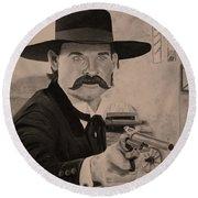 Wyatt Earp - Kurt Russell B And W Round Beach Towel