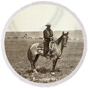 Wyoming: Cowboy, C1883 Round Beach Towel