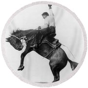 Wyoming: Cowboy, C1911 Round Beach Towel