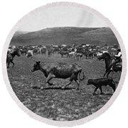 Wyoming: Cowboys, C1890 Round Beach Towel