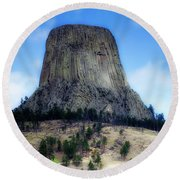 Wyoming Devils Tower With 8 Climbers August 7th 12 36pm 2016 With Inserts Round Beach Towel