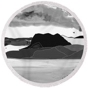 Wyoming Landscape 3 - B-w Round Beach Towel