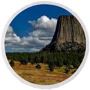 Wyoming's Devil's Tower Round Beach Towel