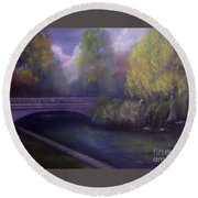Wyomissing Creek Misty Morning Round Beach Towel