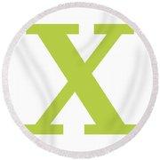 X In Spring Green Typewriter Style Round Beach Towel
