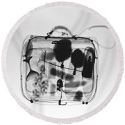 X-ray Of Suitcase Round Beach Towel by Science Source