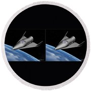 X20 - Gently Cross Your Eyes And Focus On The Middle Image Round Beach Towel