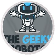 Xero The Robot Round Beach Towel