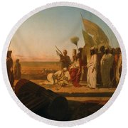 Xerxes At The Hellespont Round Beach Towel
