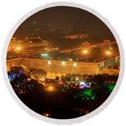 Xian City Lights Round Beach Towel