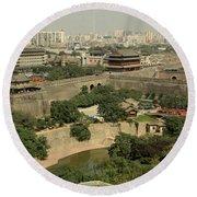 Xi'an City Wall With Skyline Round Beach Towel