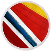 Xochimilco Boat Abstract 1 Round Beach Towel