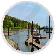 Yacht Harbor On The River. Film Effect Round Beach Towel