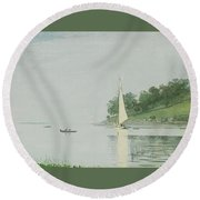 Yacht In A Cove Round Beach Towel