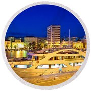 Yacht In Zadar Harbor Evening View Round Beach Towel