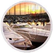 Yacht Marina Round Beach Towel