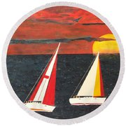 Yacht Racing Round Beach Towel