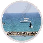 yacht sailing in the Mediterranean sea Round Beach Towel