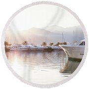 Yachts At The Sunset Round Beach Towel
