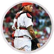 Yadier Molina, St. Louis Cardinals Round Beach Towel