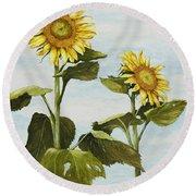 Yana's Sunflowers Round Beach Towel