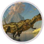 Yangchuanosaurus Dinosaurs Round Beach Towel