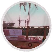 Yankee Town  Fishing Boat Round Beach Towel