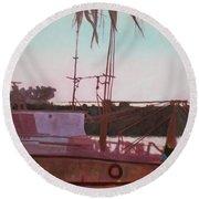 Yankee Town  Fishing Boat Round Beach Towel