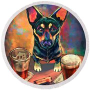 Yappy Hour Round Beach Towel