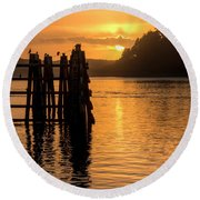 Yaquina Bay Sunset - Vertical Round Beach Towel
