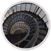 Yaquina Lighthouse Stairway Nautilus - Oregon State Coast Round Beach Towel