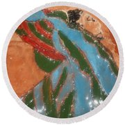 Yawn And Stretch - Tile Round Beach Towel