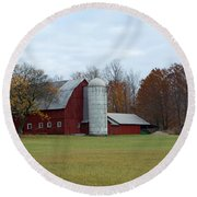 Ye Old Red Barn Round Beach Towel