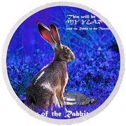 Year Of The Rabbit 2011 . Square Blue Round Beach Towel
