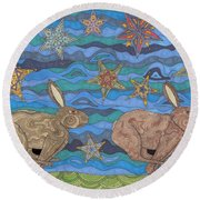 Year Of The Rabbit Round Beach Towel